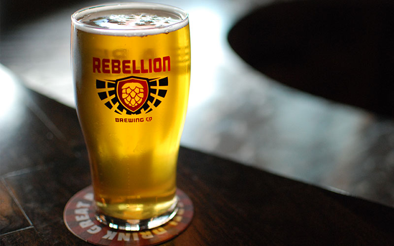 Rebellion beer at the beer gardens